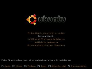 Menú de arranque del CD de Ubuntu
