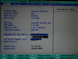 Pantalla principal de la BIOS