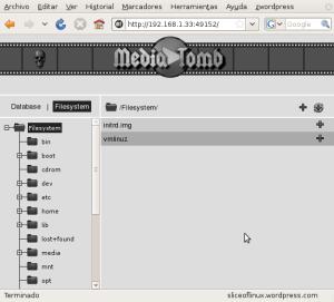 Accediendo a MediaTomb a través del navegador