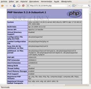 Comprobamos que el intérprete de PHP funciona correctamente