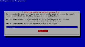 Escribimos la contraseña para el usuario root de MySQL