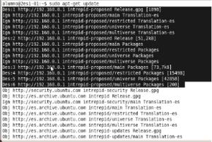 Conexión de apt-get update con éxito