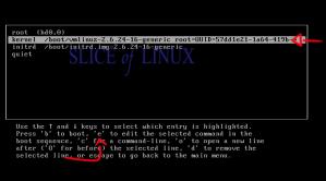 Pulsamos la tecla e para editar la línea del kernel