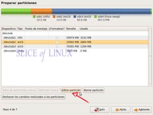 Editamos la partición raíz (/) de Ubuntu