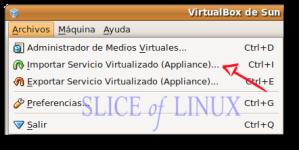 Archivos > Importar Servicio Virtualizado