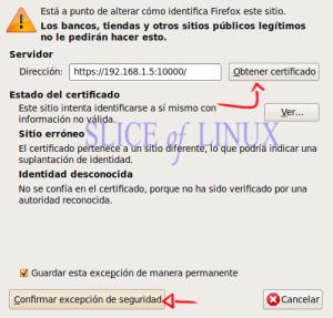 Obtenemos el certificado y guardamos la excepción