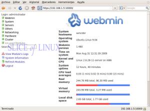 Página de inicio de Webmin