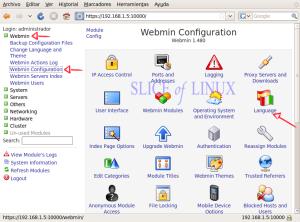 Accedemos a la configuración de Webmin