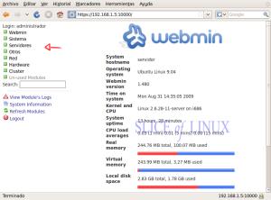 Interfaz de Webmin en español