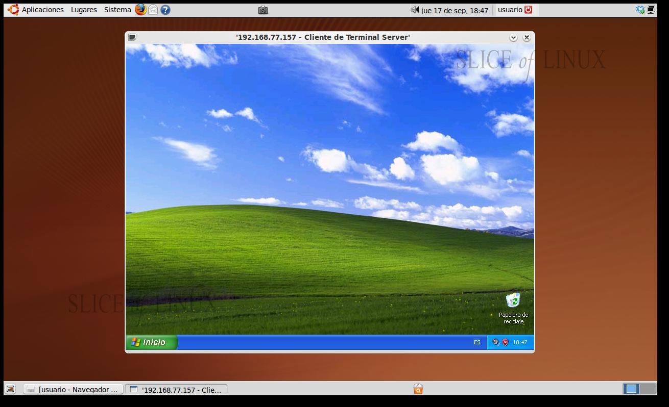 Utilizar escritorio remoto de windows xp desde ubuntu 1 parte slice of linux - Conexion a escritorio remoto windows xp ...