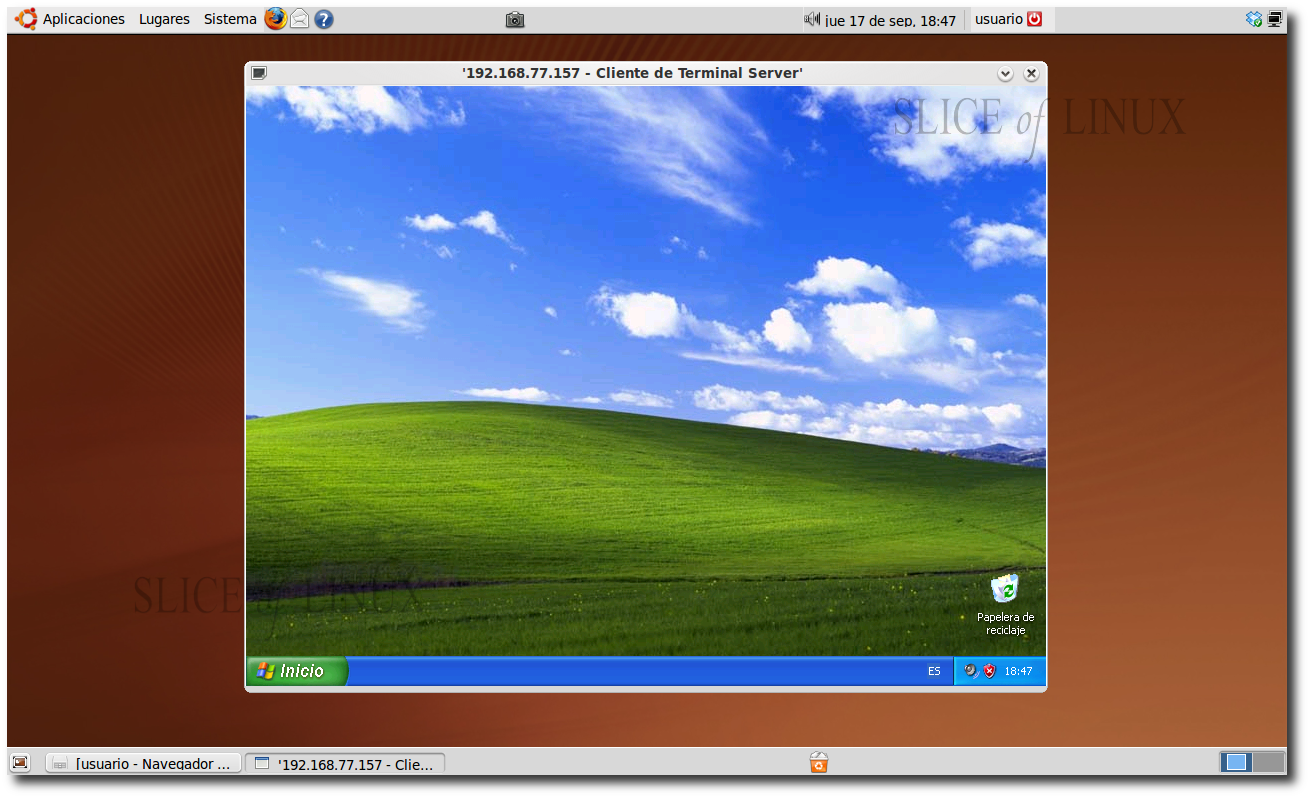 Figura 9 - Conexion a escritorio remoto windows xp ...