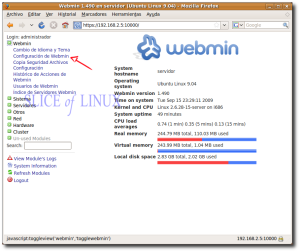 Accedemos a Webmin > Configuración de Webmin