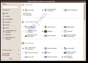 Interfaz del Administrador de Opciones CompizConfig