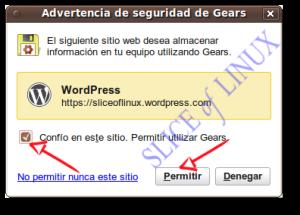 Permitirmos usar Gears a WordPress
