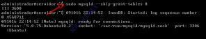 Ejecutamos sudo mysqld --skip-grant-tables --user=root &