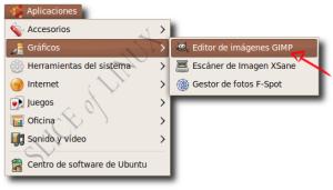 Aplicaciones > Gráficos > Editor de imágenes GIMP