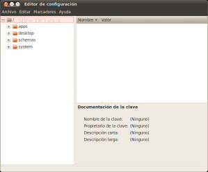Ventana principal del editor de configuración de Gnome