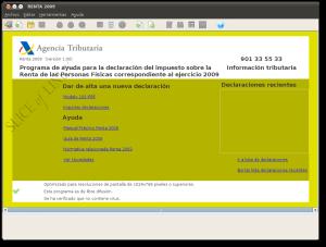 Interfaz del programa Renta 2009