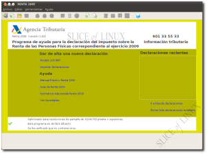 Interfaz con aspecto GTK+ de Renta 2009