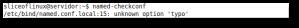 Ejecución de named-checkconf con un error