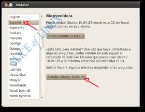 Seleccionamos el idioma y hacemos clic en Instalar Ubuntu 10.04 LTS