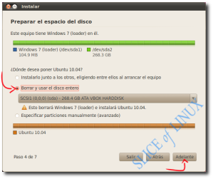 Eliminamos Windows 7 y usamos el disco entero para Ubuntu