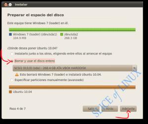 Eliminamos Windows 7 y usamos el disco entero para Ubuntu