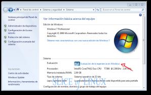 Pulsamos sobre Evaluación de la experiencia en Windows