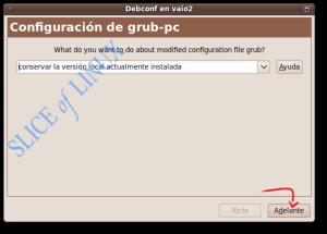 Elegimos qué hacer con la configuración del GRUB