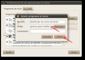 Escribimos la orden para ejecutar Gmail Notifier