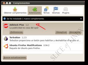 El complemento Adblock Plus está instalado