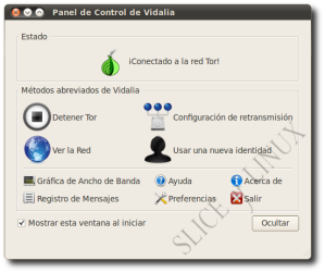 Vidalia indicando que Tor está conectado a la red