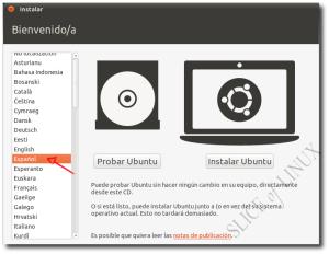 Seleccionamos el idioma y pulsamos sobre Instalar Ubuntu