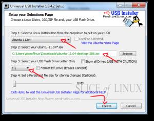 Seleccionamos la distribución, la imagen ISO y la unidad USB