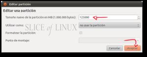 Escribirmos en MB el nuevo tamaño para la partición de Windows
